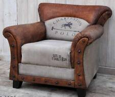 CHARLESTON POLO VINTAGE ARMCHAIR / CHAIR - GENUINE LEATHER / RECYCLED CANVAS