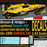 Jordan F1 199 Benson & Hedges Frentzen / Damon Hill water slide DECALS 1:43