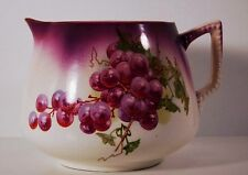 BEAUTIFUL LARGE Antique 1890s-1900 DRESDEN PITCHER Germany Grapes leaves vintage