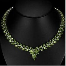 55ct Genuine Peridot & Zircon Necklace in 14K Gold Overlay 925 Sterling Silver