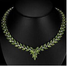 55ct genuino Peridot & Zircon Collar En Oro De 14k Recubierto De Plata 925