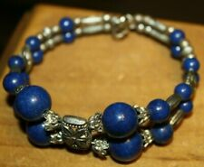 Bangle Bracelet Ladies Teens New Women'S Blue Beaded & Silvertone Fashion