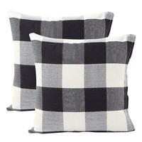 Schwarz Weiß Retro Checkers chequered Baumwolle Leinen quadratisch Dekokiss H5L8
