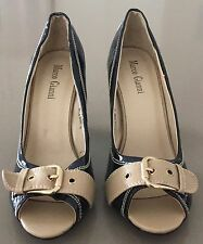 "NEW Black & Tan MARCO GIANNI ""Bella Rose"" Patent Peep Toe Block Heels Size 40"