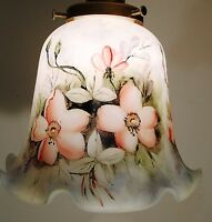 HAND PAINTED ART GLASS  LAMP SHADE PANSIE FLOWERS