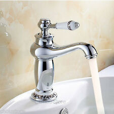 NEW Chrome Brass Porcelain Design Bathroom Basin Faucet Lavatory Sink Mixer Tap