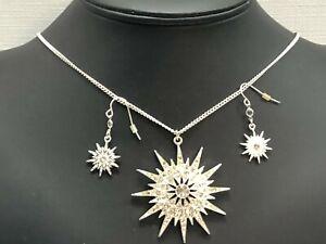 MIB Avon 2010 Starrla Necklace Earring Set Silver Tone White Rhinestone