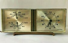 Vintage Sunbeam Alarm Clock Thermometer Barometer 80-145 Temperature Humidity