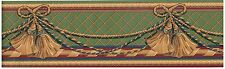 VICTORIAN TASSLE GREEN, GOLD/TAN, WINE, BLUE BACK Wallpaper bordeR Wall Decor
