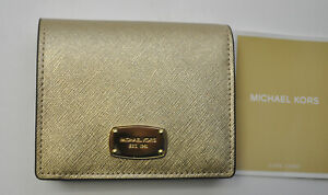 Michael Kors Giftables Jet Set Leather Flap Coin Card Holder PALE GOLD NWT