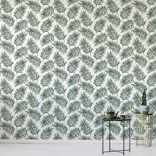 Superfresco Easy Scandi Leaf White/Green Wallpaper