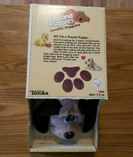 "Vintage Pound Puppies Adult Large 18"" Gray, Brown Spots, Box Papers 1985 Tonka"