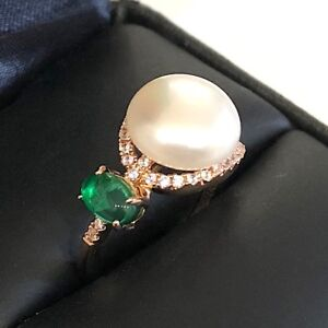 Gorgeous 9mm White Freshwater Pearl Oval Emerald Ring 14K Rose Gold Plate Size 6