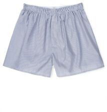 """Sunspel Woven Boxer Short: X-Large (42-44"""") Navy and white striped, poplin cotto"""