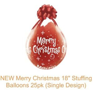 """Qualatex 18"""" Clear Stuffing Balloons (25 Pack) Merry Christmas Design"""