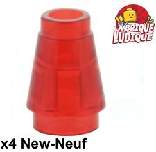 Lego - 4x Cone 1x1 with Top Groove rouge trans red 4589b NEUF