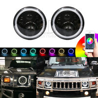 """2x H4 H13 7"""" inch RGB LED Round Headlight DRL Hi/Lo Beam Fits For Hummer H1 H2"""