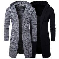 Men's Stylish Hooded knit Sweater Coat Slim Fit Cardigan Trench Long Jacket