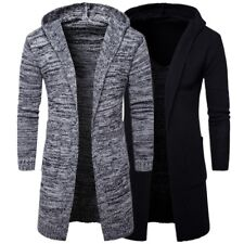 Winter Korea Men's Casual Warm Knitted Coat Long Sleeve Hooded Open Cardigan