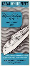1940 GREAT WHITE FLEET United Fruit Company BROCHURE Cruise Ship SCHEDULE Cuba