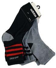 6-Pair Adidas Mens Performance Low Cut Socks Black Red Gray 6-12