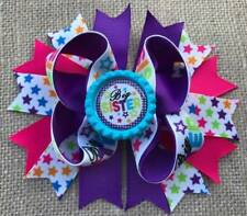 Hot Pink Purple Stars Big Sister Bottle Cap Hair Bow 5""