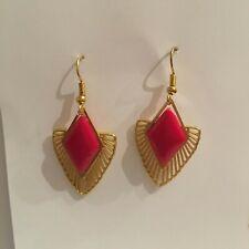 LOVELY ART DECO STYLE -DIAMOND DECO- SUNRAY GOLD PLATED DROP EARRINGS HOOK