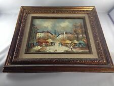 """Framed Painting ~ City Marketplace ~ Blue/Yellow/Cream ~ """"Larson"""" ~14"""" by 12"""""""