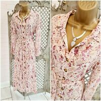 MaxCares 💋Pink Snakeskin Animal Print Button Front Belted Maxi Dress XL Summer