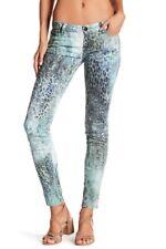 Etienne Marcel Skinny Jeans Aqua Blue Teal Animal Print Low Rise Sz 26 NEW