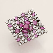 Natural Burmese Ruby Cushion Ring Silver Tone Women Wedding Fine Jewelry Gifts