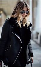 Zara Faux Fur Collar Aviator Shearling Biker Jacket Coat L Uk 12 Genuine Zara