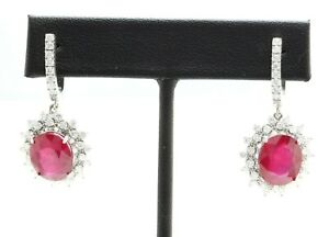 14.48 Carat Natural Red Ruby and Diamond in 14K Solid White Gold Earrings