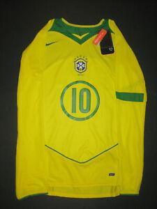 New Nike 2004-2006 Brazil Ronaldinho Home Long Sleeve Jersey Shirt Kit LS