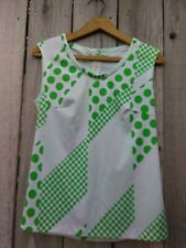 Vintage Small Women's Blouse, Green Dots Paul of California Sleeveless Poly Top
