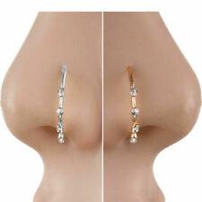 Crystal Rhinestone Stainless Steel Nose Ring Body Piercing Bone Stud Jewelry