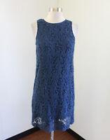 Ann Taylor Loft Teal Blue Lace Sleeveless Shift Dress Size 2 Casual Womens