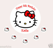 HELLO KITTY RED CAKE TOPPER PARTY PERSONALISED EDIBLE  ICING SUGAR 7.5""