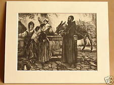 GOSSIPING AT THE WELL ITALY ANTIQUE ENGRAVING c1890 OLD