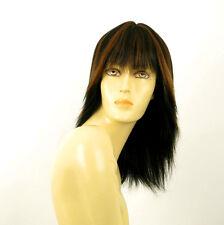 perruque femme 100% cheveux naturel mi-long méchée noir/cuivré FABIENNE 1b30