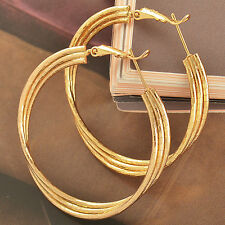 Saucy 9K Real Gold Filled Womens Hoop Earrings Huggie Fashion Jewelry 45mm