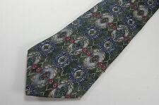 Don Loper Italian Silk Mens Tie Necktie Khaki Tan Green Gray Blue Beverly Hills