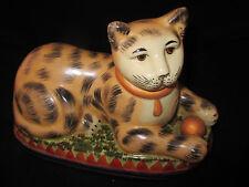Chat léopard statue céramique décorative Art Nouveau Antique Ceramic Cat