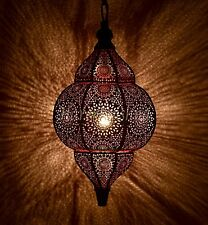 Indian Style Ceiling Hanging Pendant Metal Moroccan Lamp ( Black & Pink) 12""