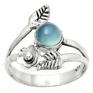 Floral - Natural Blue Chalcedony 925 Sterling Silver Ring s.7.5 Jewelry E469