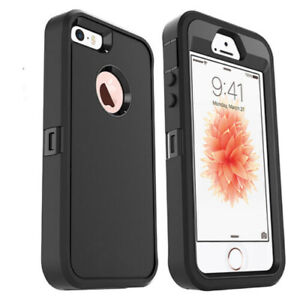 For iPhone 5 5S 5SE Heavy Duty Case with Holster Belt Build in Screen Protector
