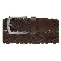 Men's Braided Leather Brown Belt Dress Work Casual Brushed Finish Metal Buckle
