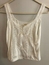 Denim Supply Ralph Lauren Lace-Inset Jersey Top Antique Cream S  _______ M4E4