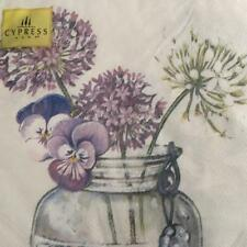 PAPER NAPKINS / SERVIETTES PACK OF 20 AGAPANTHUS AND PANSY IN A JAR DESIGN 3PLY