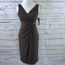 Anne Klein Faux Wrap Dress Brown Size 6